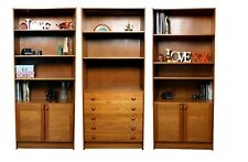 DOMINO MOBLER MID CENTURY DANISH TEAK WALL UNIT BOOKCASE CUPBOARDS & DRAWERS