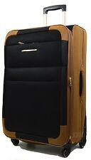 Synthetic Suede Lightweight 4 Wheel Spinner Trolley Cases Suitcases Luggage Bag Black-tan 24""