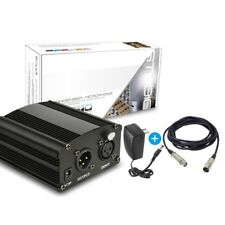 Hot 1-Channel 48V Phantom Power Supply w/ Adapter&XLR Cable For Music Recording