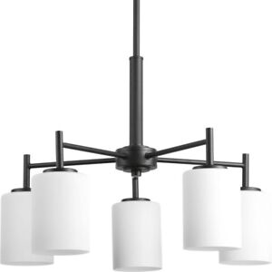Chandelier 5-Light Single Tier Black Adjustable Hanging Length with Etched Glass