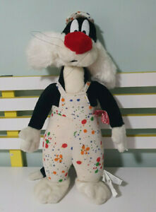 SYLVESTER PLUSH TOY LOONEY TUNES CHARACTER TOY PAINTERS OUTFIT 50CM 1999