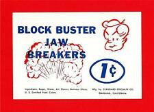 Block Buster Jaw Breakers 1 Cent Vending Machine Sign