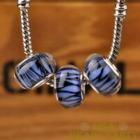 New 10pcs 14mm European Bracelet Resin Irregularity Stripe Big Hole Bead Blue