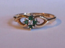 Estate 14K Yellow Gold   Emerald and Diamond Ring