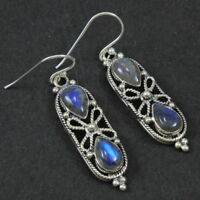 Natural Labradorite Solid 925 Sterling Silver Jewelry Earrings