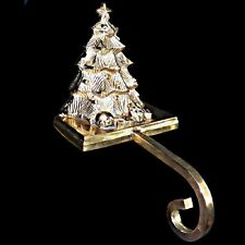 Heavy Brass 3D Three Dimensional Long Arm Christmas Tree Stocking Hanger Holder