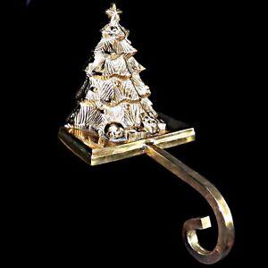 Heavy Brass 3D Three Dimensional Long Arm Christmas Tree Stocking Hanger Holder