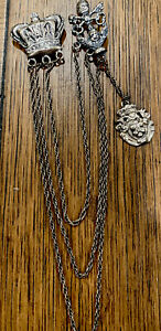 Antique Victorian Sterling Silver CROWN Crest Chatelaine 32g Beautiful Piece