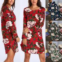 Women Rolled Up Long Sleeve Floral Tunic Tops T Shirt Summer Beach Mini Dress US