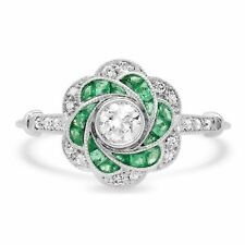 Platinum Natural Diamond Art Deco Emerald Flower Cocktail Ring Antique Finish