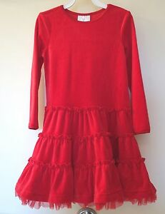 New W/Tags Hanna Andersson Red Velour/Tulle Twirly  Dress ~ Sz 80 / 10-24M ~Cute