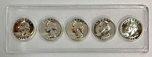1960 1961 1962 1963 1964 Washington Silver Proof Quarters - 5 Coin Lot