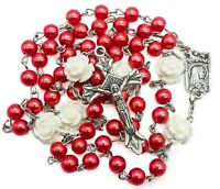 Catholic Red Pearl Beads Rosary Necklace White Our Rose Holy Lourdes Medal Cross