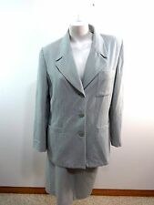 LE SUIT WOMENS MINT GREEN PINSTRIPED SKIRT SUIT SIZE 14