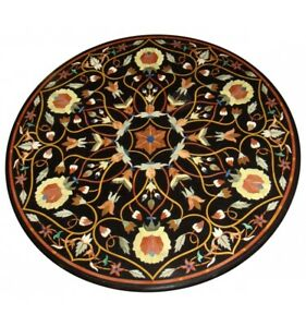 """36"""" Marble Dining Table Top Multi Mosaic Floral Inlay Art Living Room Decor B645"""