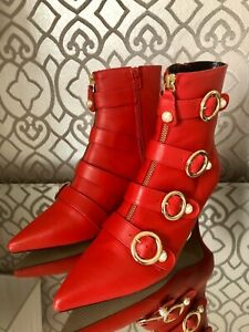 Kurt Geiger Carvela, Red Leather Ankle Boots, Size Eur 41, NEW