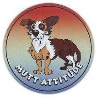 Round Dog Breed Car Magnet - Mutt Attitude - Bumper Sticker Decal