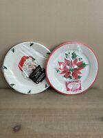 "Vintage Christmas Santa & Poinsettia 7"" Plastic Plates, 16-Piece, 2-Pack NOS"