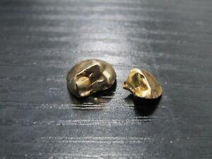 Lot of 2 Solid 18k Yellow Gold Dental Scrap Molar Teeth Fillings