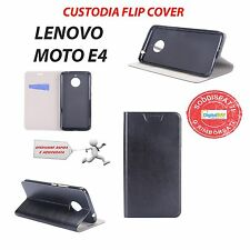 Custodia Cover Horizontal Flip Case Leather Eco Pelle Nero Per Lenovo Moto E4