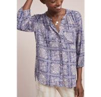 AKEMI + KIN ANTHROPOLOGIE Lavender Purple Coconino Button Down Shirt Blouse Sz M