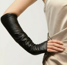 Warmen Genuine Black Soft Nappa Leather Opera Long Lined Fingerless Gloves Sz M