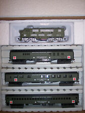 HO IHC MILITARY HOSPITAL TRAIN SET F3-A LOCOMOTIVE W/3 PASSENGER CARS #20087