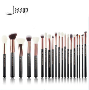 Jessup Makeup brushes Professional Black/Silver with Natural Hair Foundation