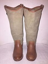 Frye 76170 Brown Canvas & Leather Melissa Button Boots Women's Size 6-B