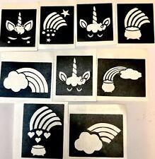Rainbow 🌈 Unicorn LASHES stencils x9 top up ur glitter tattoo kit facepainting