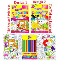 Travel Colouring Book Set Pencil Crayons Colour Hardback Art Kids Animals Wild