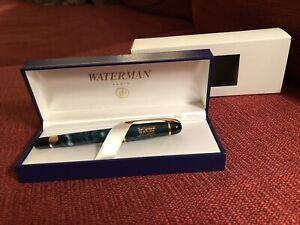 Waterman Phileas Rollerball Marble Green & Gold w/Box and Paperwork: Stamped