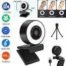 Desktop 1080P/2K Webcam mit Ring Füllen Licht Mic Autofokus AF Web Kamera