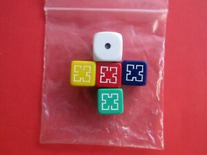 PICTIONARY 4 GAME DICE & 1 DIE 2000 Edition Green Yellow Red Purple