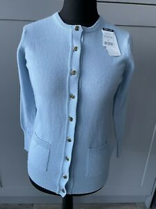 Woolovers Ladies Classic Cardigan Crew Neck 100% Wool Pale Blue Size Small NWT