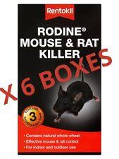 6 X BOXES RENTOKIL RODINE MOUSE AND RAT KILLER-CONTAINS 3 SATCHET & BAIT TRAYS