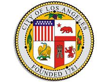4x4 inch ROUND Los Angeles City Seal Sticker - decal la california ca hollywood