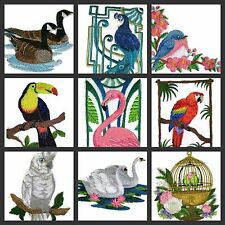 Birds with Surroundings embroidered iron on patches collection