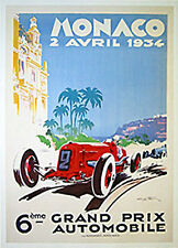 Monaco Grand Prix 1934 by Geo Ham. Vintage Auto Race Poster Reproduction