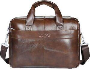 """Mens Designer Genuine Brown Leather Macbook Laptop Messenger Bag Briefcase 15.6"""""""