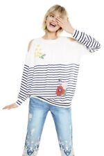 Desigual womens blouse/top/ shirt/ open shoulder long sleeve- Large