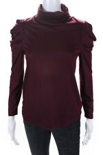Enza Costa Womens Puff Sleeve Turtleneck Blouse Top Red Brown Size XS