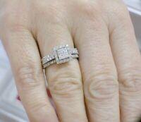 14k white gold over 1.50ct dvvs1 diamond wedding 3pcs bridal ring set engagement