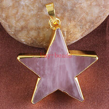 18k Gold Plated Natural Pink Rose Quartz Crystal Gemstone Star Pendant Jewelry