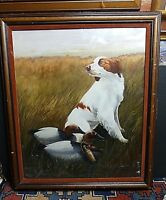 Fantastic Painting/Gouache Brittany Spaniel Hunt Scene Decoys Signed C.L. Mercer
