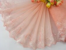 "7.5""*1yard delicate pink&white embroidered flower tulle lace trim DIY 0375"