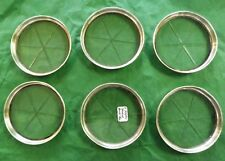 """Set of Six Sterling Silver and Glass Coaster, 3 3/4"""" in Diameter"""