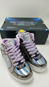 Skechers Kids Energy Lights Eliptic Sneakers Runners Shoes SILVER Purple Sz 13