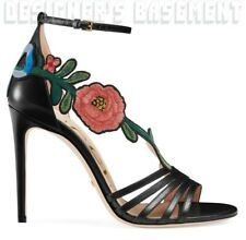 GUCCI black 38.5 leather OPHELIA Floral Embroidery STILETTO sandals NWT Auth$730