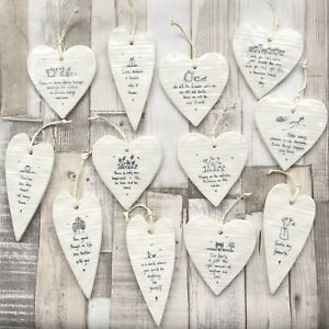 East of India Hanging White Porcelain Wobbly Hearts Inspirational Gift